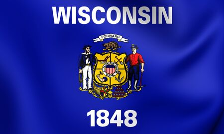 wisconsin flag: 3D Flag of the Wisconsin, USA. Close Up. Stock Photo