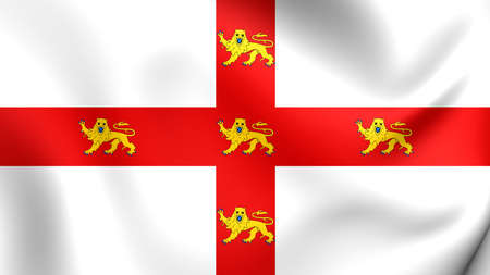 yorkshire and humber: 3D Flag of the York, England. Close Up.