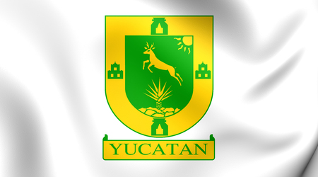 yucatan: 3D Flag of the Yucatan State, Mexico. Close Up. Stock Photo