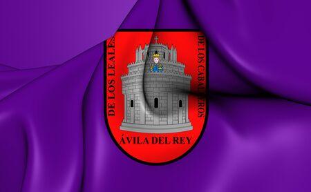 castilla: 3D Flag of the Avila City, Spain. Close Up.