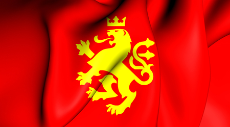 3d lion: 3D Flag of the Ethnic Macedonian Lion. Close Up. Stock Photo