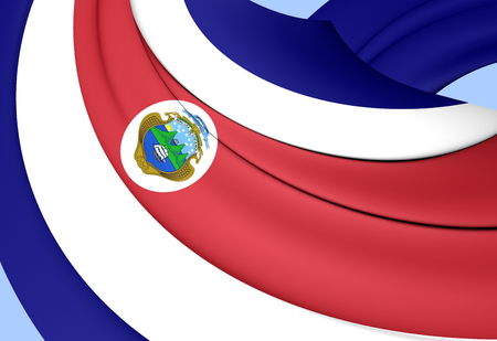 3D Flag of the Costa Rica. Close Up.