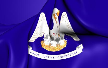 louisiana flag: 3D Flag of the Louisiana, USA. Close Up.