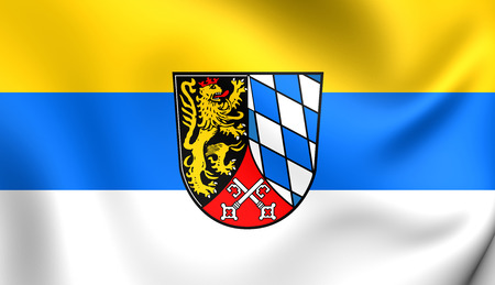 upper: 3D Flag of the Upper Palatinate, Germany. Close Up.