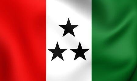 bandera de panama: Bandera 3D de la Comarca Ngäbe-Buglé, Panamá. Acercamiento.