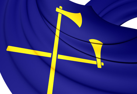 bailiwick: 3D Flag of the Saint Helier, Jersey. Close Up. Stock Photo