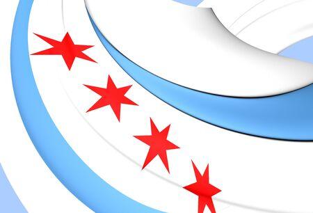 chicago: 3D Flag of the Chicago, USA. Close Up.