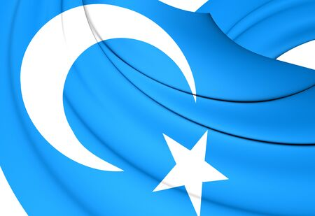 east: 3D Flag of the East Turkestan. Close Up. Stock Photo