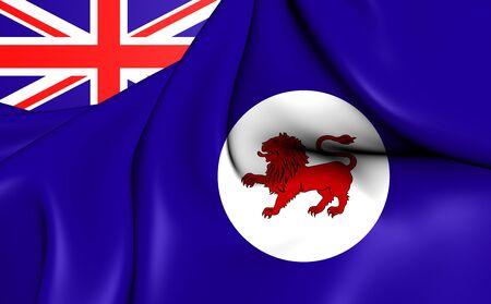 tasmania: 3D Flag of the Tasmania, Australia. Close Up.