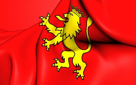 spainish: 3D Flag of the Tineo, Spain. Close Up.