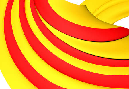 catalonian: 3D Flag of the Catalonia. Close Up.