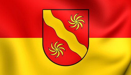 munster: 3D Flag of the Warendorf Kreis, Germany. Close Up.