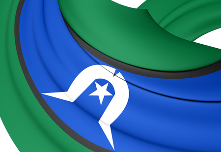 islanders: 3D Flag of the Torres Strait Islanders. Close Up.