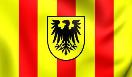 blason: 3D Flag of the Mechelen, Belgium. Close Up. Stock Photo