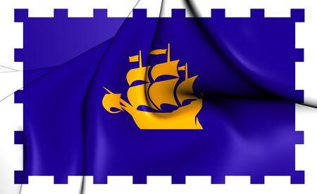 quebec: 3D Flag of the Quebec City, Canada. Close Up.