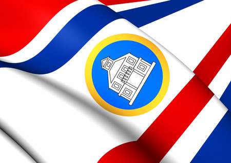 governor: Governor of Sint Maarten 3D Flag. Close Up.