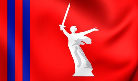 oblast: 3D Flag of the Volgograd Oblast, Russia. Close Up.