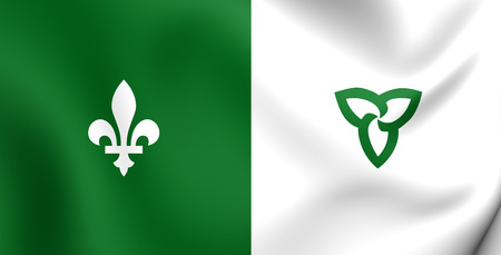 ontario: Franco-Ontarian 3D Flag. Ontario, Canada. Close Up.