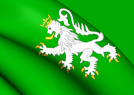 walloon: 3D Flag of the Ittre, Belgium. Close Up.