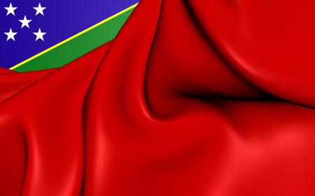 ensign: 3D Civil Ensign of the Solomon Islands. Close Up. Stock Photo