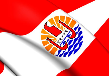 francaise: 3D Flag of the French Polynesia. Close Up.