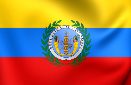 gran: 3D Flag of the Gran Colombia (1819-1831). Close Up.