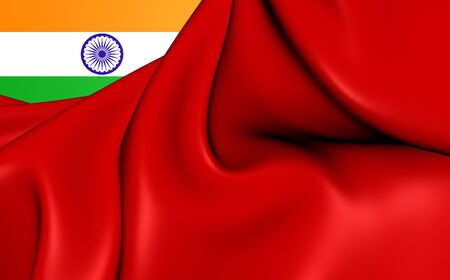 ensign: 3D Civil Ensign of the India. Close Up. Stock Photo