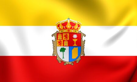 castilla: Province of Cuenca 3D Flag, Spain. Close Up.