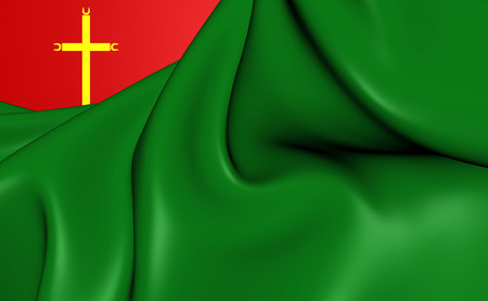 la: 3D Flag of the La Santisima Trinidad, Bolivia. Close Up.