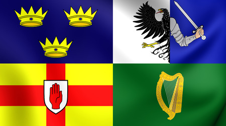 ireland: Four Provinces of Ireland 3D Flag, Ireland. Close Up.