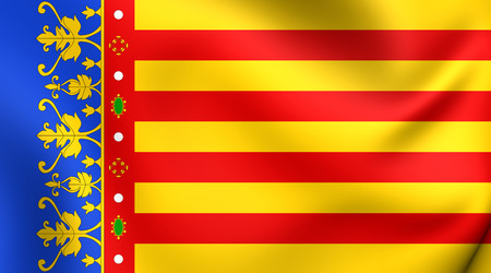 valencian: 3D Flag of the Valencian Community, Spain. Close Up.