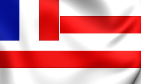 francaise: Kingdom of Raiatea 3D Flag (1880-1888). Close Up. Stock Photo