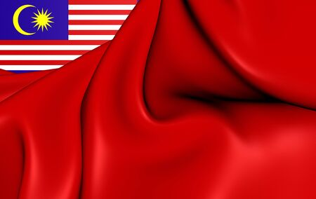 ensign: 3D Civil Ensign of the Malaysia. Close Up.