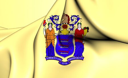 new jersey: 3D Flag of the New Jersey, USA. Close Up.