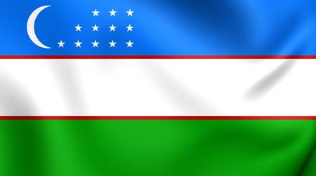 uzbekistan: 3D Flag of the Uzbekistan. Close Up.