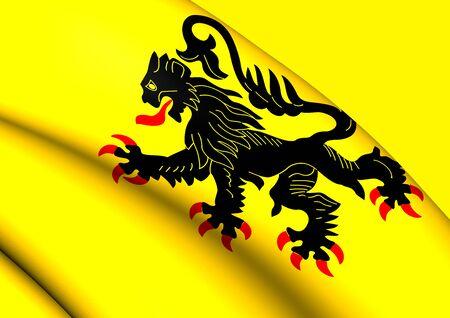 calais: 3D Flag of the Nord-Pas de Calais. Close Up.