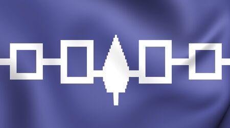 belt up: Flag of the Iroquois Confederacy, Hiawatha Belt. Close Up. Stock Photo