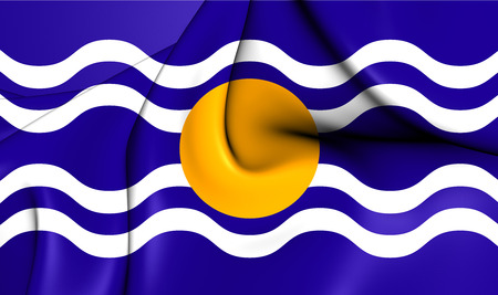windward: 3D Flag of the West Indies Federation (1958-1962). Close Up.