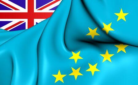 tuvalu: 3D Flag of the Tuvalu. Close Up. Stock Photo
