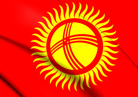 kirgizia: 3D Flag of the Kyrgyzstan. Close Up.