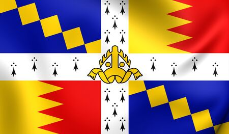 birmingham: 3D Flag of the Birmingham, England. Close Up.