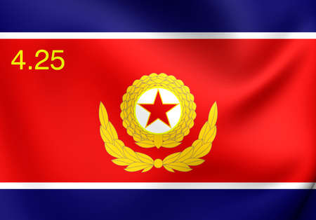 korean national: Korean Peoples Army Ground Force 3D Flag. Close Up.