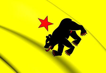 rheintal: 3D Flag of the Altstatten, Switzerland. Close Up. Stock Photo