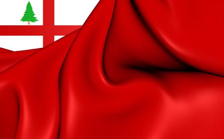 new england: 3D Flag of the New England, USA. Close Up.