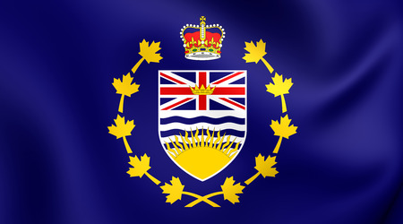 province: Lieutenant-Governor of British Columbia 3D Flag, Canada. Close Up. Stock Photo