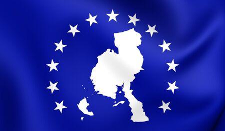 Bandera 3D de la provincia de Veraguas, Panamá. Acercamiento.
