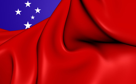 samoa: Independent State of Samoa 3D Flag. Close Up.