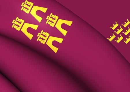 region: Region of Murcia 3D Flag, Spain. Close Up.