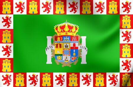 spainish: Province of Cadiz 3D Flag, Spain. Close Up.