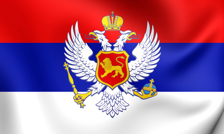 former: Kingdom of Montenegro 3D Flag (1910-1918). Close Up. Stock Photo
